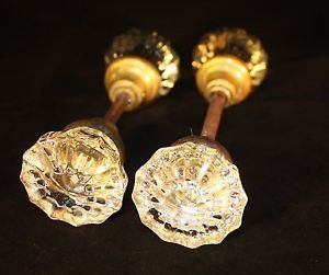 Antique Vintage Crystal Glass Door Knobs Brass Collars