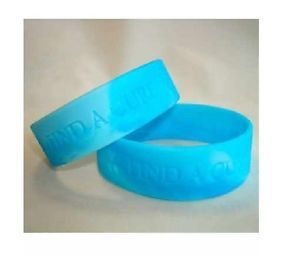 1 Ovarian Cancer Awareness Teal Ribbon Find A Cure Wide Jumbo Rubber Bracelet