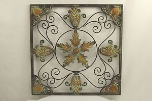 Leaf Scroll Brown Green Metal Wall Art Home Decor Sculpture Wall Hanging