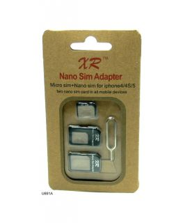 New Black Nano Micro Sim Card Converter Adapter Holder for iPhone 4 4S 5 U691A