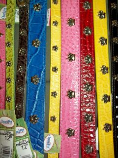 Omni Pet Faux Crocodile Leather Dog Pet Collar Choose Size Color Ornament