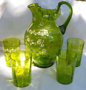Victorian Antique Enamel Lemonade Pitcher Water Beverage Green Glasses 6 Fenton