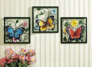 3 PC Framed Crafted 3D Metal Butterfly in Blossom Flower Set Wall Art Decor