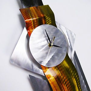 Modern Abstract Metal Clock Contemporary Wall Art Sculpture Painting Home Decor