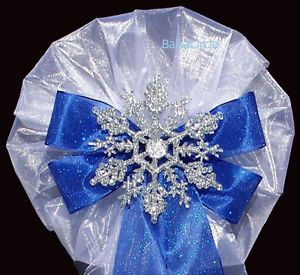 6 Pcs Silver Snowflake on Royal Blue Bow Winter Wedding Pew Bows Decorations