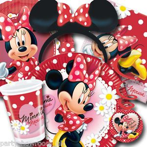 Disney Minnie Mouse Red Polka Dots Tableware Decorations All Under One Listing