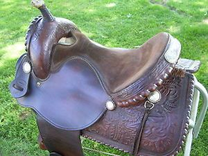 "Vtg ""Crates"" Silver Lace Conchos Barrel Racing Pleasure Show Saddle 15"""