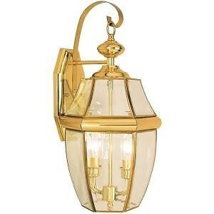 Hampton Bay Wall Mount 2 Light Outdoor Polished Brass Lantern