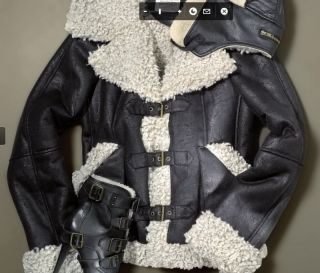 Runway Black Faux Leather Shearling Aviator Coat Jacket