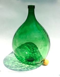 Demijohn Carboy Italian Antique Large Glass Blown Wine Bottle Jug Vintage Green