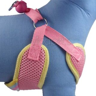 "17 22"" Girth Pink Sports Comfort Dog Harness Vest Collar Large Nylon 4ft Leash"