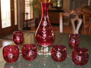 7 PC Etched Cranberry Red Glass Wine Set Pitcher Goblets Roly Poly Glasses