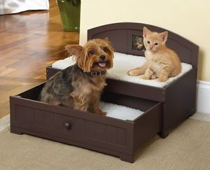 New Wooden Two Tier Slide Out Drawer Pet Bed for Small Dog Kitty Cat