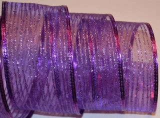 Wired Ribbon Sheer Purple Sparkle Stripe Christmas Holiday Wreath Gift Craft Bow