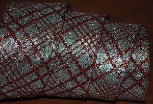 Wired Ribbon Christmas Plaid Sparkle Red Silver Holiday Christmas Wreath Bow