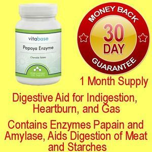 Papaya Chewable Enzymes Papain Amylase Digestive Aid Indigestion Heartburn Gas