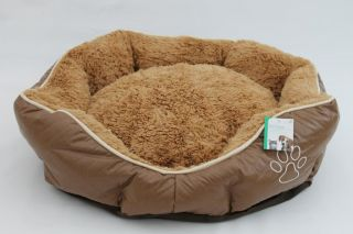 Luxury Dog Bed PU Leather Cat Bed Medium Pet Bed Paw Print Bed Puppy Dog
