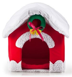 Cute Red Christmas Dog House Pet Dog Cat Bed House Small