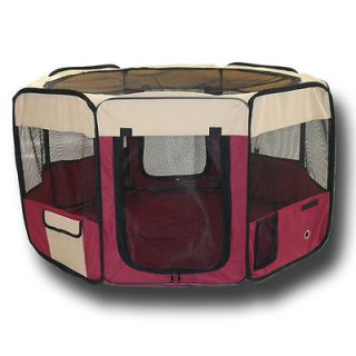 Folding Red Portable Pet Play Pen for Pet Dog Puppy Carrier Tote Fence Travel
