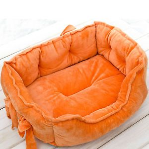 New Soft Cozy Warm Bowknot Pet Kennel Dog Cat Bed for Small Medium Dog Orange