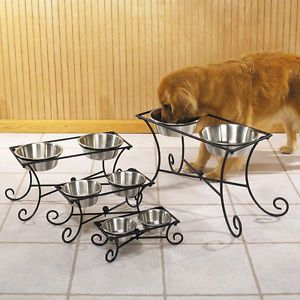 Pet Studio Wrought Iron Raised Elevated Dog Diner Food Water 2 Bowls Dishes