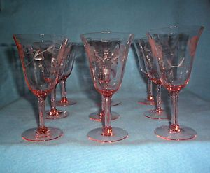 Pink Depression Glass Etched Flower Glass Optic Stemmed Wine Glasses 9
