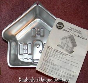 Wilton 3D House Cake Pan Stand Up Instruction Bklt Mold Tin Haunted Holiday Dog