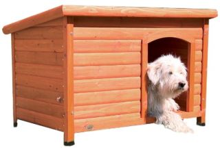New Flat Hinged Roof Large Weatherproof Pet Dog House Wood Doghouse Glazed Pine