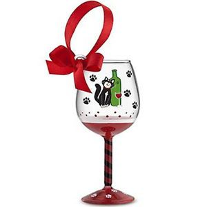 Taste of Purrfection Cat Drinking Wine Mini Wine Glass Ornament Without Gift Box