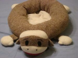 "Sock Monkey Pet Bed 33"" Cat Dog Bedding Plush Doll Head Brown Lot"