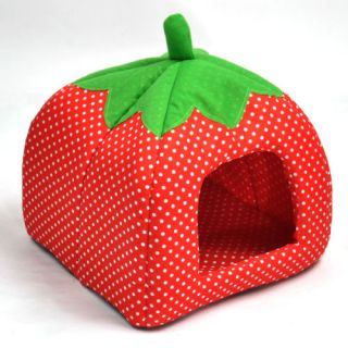 Hot Soft Strawberry Pet Dog Cat Bed House Kennel Doggy Warm Cushion Basket 3Size