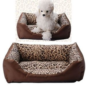Welcomed Washable Pet Nest Kennel Fashion Square Leopard Print Dog House Bed SML
