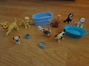 Lot Barbie Doll Dogs Peeing Dog Pets Cat Puppy Beds Bath Bowls