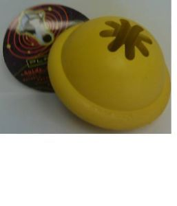 Yellow Planet Kong Goodie Ball Rubber Dog Toy Treat