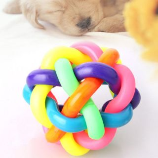 Cute Rainbow Rubber Pet Puppy Dog Play Chewing Toy Bell Sound Ball