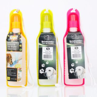 Lot 2 Collapsible Pet Dog Cat Travel Water Bottle Bowl Feeder 500ml Color Random