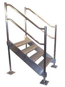 4 Step Heavy Duty Aluminum Stairs Portable with Railings Fully Adjustable