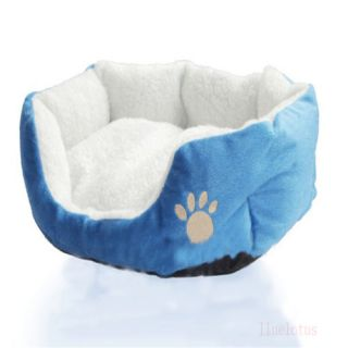 Blue Pet Dog Puppy Cat Soft Fleece Warm Bed House Plush Cozy Nest Mat Bed Mat