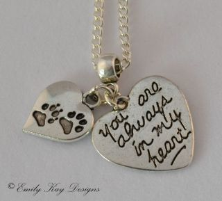 Rainbow Bridge Cat Dog Loss Memorial 'Paw Prints on My Heart' Charm Necklace