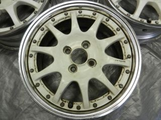"JDM 15"" inch Sprint Hart White Wheels 4x100 34 15x6 5 Offset Rims Set Civic CRX"