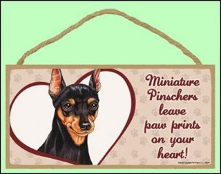 "Miniature Pinscher 10""x5"" Leave Paw Prints Dog Sign"