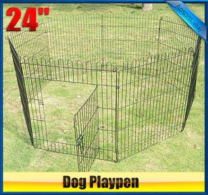 "24"" Heavy Duty 8PANEL Pet Playpen Dog Play Exercise Pen Cat Fence"