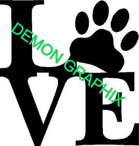 Love with Paw Print Vinyl Decal Sticker Window Dog Pet Animal