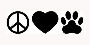 Peace Love Paws Dog Cat Paw Print Heart Sticker You Pick Color Car Window Truck