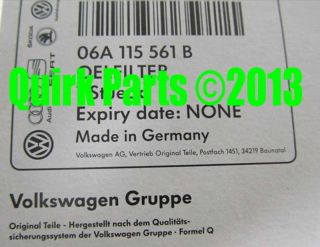 VW Volkswagen Single Oil Filter Replacement Passat Jetta Golf Genuine New