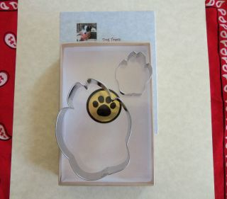 Cookie Cutter Cutters Paw Prints 2pc w Dog Treat Recipe