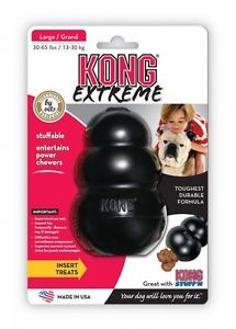 Kong Classic Extreme Black Adult Rubber Kong Large 1 Pack Dog Toy Free SHIP USA