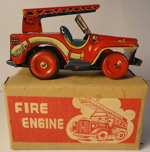 Fire Engine Truck Friction Tin Toy Vintage 1950's Very Colorful Boxed