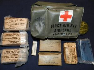 Original Military Vietnam US Army USAF Airplane First Aid Kit Medical Contents