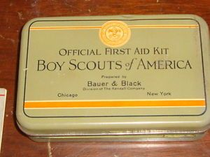 Vintage 1928 Boy Scouts of America Official First Aid Kit Bauer Black Complete